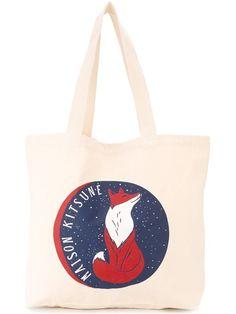 MAISON KITSUNÉ logo print tote. #maisonkitsuné #bags #shoulder bags #hand bags #tote #cotton #