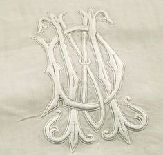 Antique French Pure Fine Linen Sheet MD Monogram Bed Cover Larger Than King Size | eBay