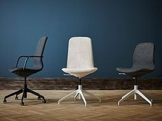 Three LÅNGFJÄLL chairs. On the left, a high back dark gray chair with black armrests and black legs with castors. In the center, one high back beige chair with white legs without castors. On the right, one low back dark gray LÅNGFJÄLL chair with white legs and without castors.