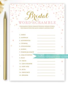 Excited to share the latest addition to my #etsy shop: Bridal Word Scramble Bridal Shower Game . Pink and Gold Bridal Shower Games . Printable Instant Download . Gold Glitter Pink Confetti Hearts