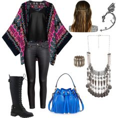 A fashion look from April 2015 featuring silk camisole, short pants and lace-up boots. Browse and shop related looks. Rocker Girl, Bling Jewelry, Breeze, Fashion Ideas, Streetwear Brands, Forever 21, Luxury Fashion, Boho, Polyvore