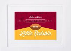 Washington Redskins Print. NFL inspired. Children's Room or Nursery DIY Custom Design Print