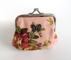 China Town Addict - Small Chinese Coin Purse in pink cotton with Chinese vintage floral pattern