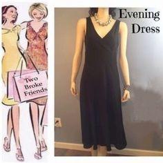 "J. Crew Black formal evening long dress, Sz. 6 J crew black sleeveless evening/ maxi dress. 100% silk lining. Size 6. Bust 17"", waist 14 1/2"", length 45"", hips flare out to 21"".  V-neck. Left side zipper. Dress is 100% poly. Smoke free environment. J. Crew Dresses"