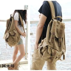 Retro-Vintage-Canvas-Camping-Hiking-Travel-Backpack-Rucksack-Satchel-School-Bag