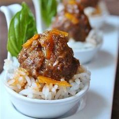 "Spicy Orange Bison Balls Recipe and Video servings): ""This recipe is inspired by the retro classic cocktail meatballs in grape jelly. I took that idea, along with my love of spicy orange beef, and came up with this combination. Tapas Recipes, Dinner Recipes, Cooking Recipes, Healthy Recipes, Ground Bison Recipes Healthy, Game Recipes, Steak Recipes, Healthy Meals, Bison Meat"