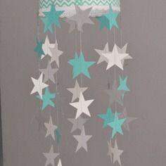 Mobile suspension papillons turquoise gris et blanc - décoration chambre bébé enfant garçon