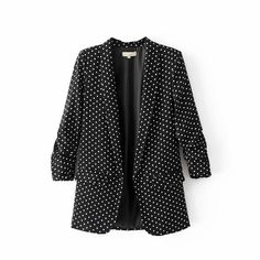 Polka Dot Blazer Notched High Quality 3/4 Sleeve Ruffles