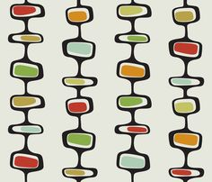 retro inspired fabric by wallflowerdesign on Spoonflower - custom fabric