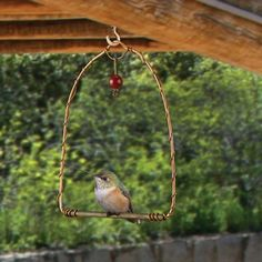 "Copper Hummingbird Swing - Hummingbirds are territorial and will use this swing, with a shimmering copper finish, as a perch to watch over their food source. Simply place this swing near feeders and enjoy watching them sit and swing. The red glass bead attracts hummingbirds. 5 1/2""w x 7""h."