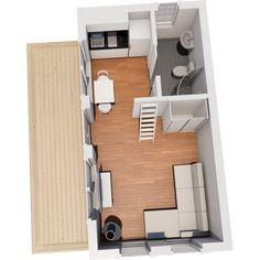 Modellerna med loft är maximerade gällande in och utvändiga mått, noterbart är den takhöjd som erbjuds både under och på loftet. Timmer eller blocklösning. Ground Blinds, Micro House, Tiny Spaces, Tiny House Plans, Tiny Living, Beach House, Architecture Design, Floor Plans, Boathouse