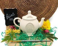 Mushroom Snail Shack Fairy House Ceramic Bisque Ready to | Etsy Ceramic Bisque, Having A Blast, Pottery Painting, Fairy Houses, Diy Photo, Kids House, Tea Pots, Stuffed Mushrooms, Acorn Necklace
