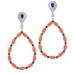 Diamond Angel Skin Coral Blue Sapphire Gold Drop Earrings