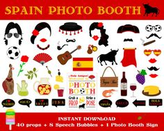 Spain Photo Booth Props–49 Pieces (40 props,8 speech bubbles,1 photo booth sign)-Spanish Party Props-Fiesta España Props-Instant Download