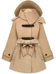 Beige Removable Hooded Long Sleeve Drawstring Coat - Sheinside.com