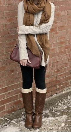 elements of fall fashion: sweaters, scarfs, leggings, and boots