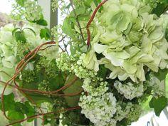 Buffet table flower arrangement - close up.