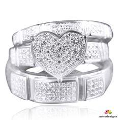 LADIES/MENS HEART ROUND CUT DIAMOND BRIDAL ENGAGEMENT RING TRIO SET 0.50 TDW #aonedesigns #WeddingAnniversaryEngagementPartyGift