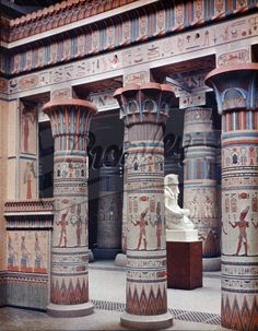 Crystal Palace Egyptian Court – Detail of the Philae Portico. Photographed in Dufay colour by Arthur Talbot – London August 1936 Ancient Egyptian Architecture, Ancient Egyptian Art, Ancient History, Egyptian Temple, Old Egypt, Egypt Art, Luxor, Crystal Palace, Machu Picchu