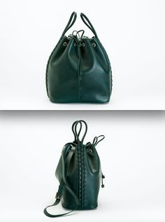 Bucket bag with intricate leather woven handles