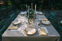 Tuscan Rustic Table Styling - Floral Print Wedding Dress by Anna Fuca | Tuscan Treehouse Bridal Inspiration Shoot | Images by Stefano Santucci