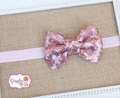 Pink Glitter Headband Pink Sequin Headband Toddler by leilei1202