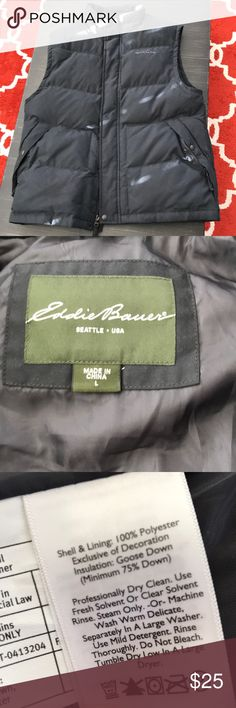 Men's down vest Like new, never worn. Men's L Eddie Bauer goose down vest. I'd call it black or darkest grey. Eddie Bauer Jackets & Coats Vests