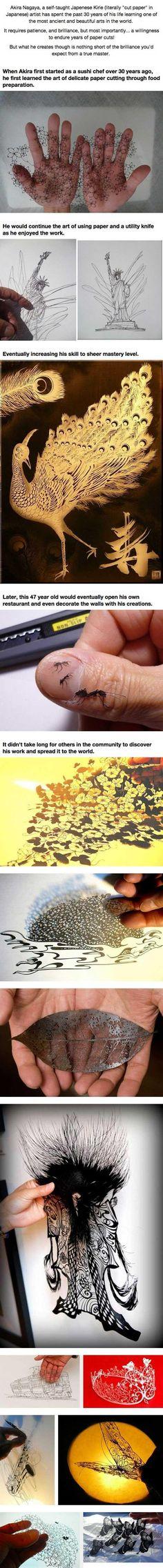 Not Anime but still amazing Japanese art - Paper art by Akira Nagaya - my goodness, look at that leaf!?