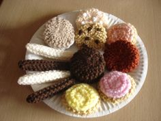 Assorted knitted biscuits that I make Available to purchase from barginspls on eBay