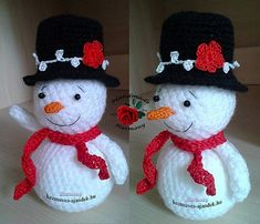 Snowman with fancy hat (Free Amigurumi Patterns) Crochet Snowman, Crochet Christmas Ornaments, Christmas Crochet Patterns, Christmas Knitting, Crochet Patterns Amigurumi, Christmas Crafts, Crochet Winter, Holiday Crochet, Crochet Gifts