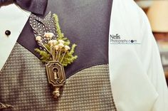 key hole boutonniere (by Savvy Couture, Photo by Nelis Photography) - 21 Unique Alternative Boutonniere Ideas
