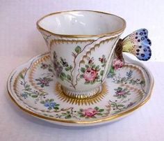 19th C Sevres Style Porcelain Butterfly Handle Teacup Tea Cup Saucer by Divonsir Borges