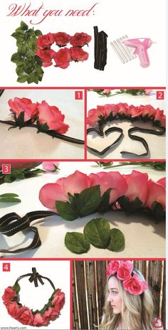 Floral Crown #DIY! Probably with smaller flowers and better ribbon...