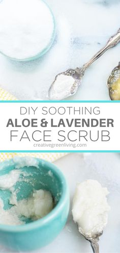 DIY Face Scrub Recipe with Soothing Aloe and Lavender Homemade Exfoliating Scrub, Sugar Scrub Homemade, Sugar Scrub Recipe, Sugar Scrub For Face, Diy Face Scrub, Diy Scrub, Sugar Scrubs, Organic Face Products, Best Face Products