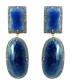 #Amazon.com: 14K Gold Sterling Silver 63.87 Ct Blue Sapphire Diamond Designer Vintage Dangle Earrings Handmade Jewelry: Jewelry