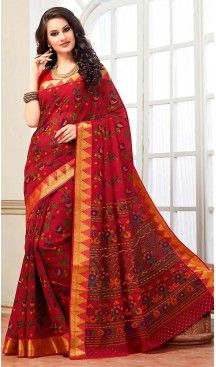Crimson Color Cotton Contemporary Style Office Wear Saree | FH488475046