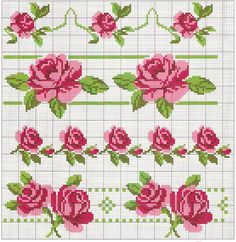 cross-stitch roses borders... no color chart available, just use pattern chart as your color guide.. or choose your own colors...