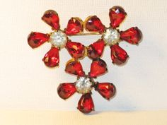 Vintage Red Clear Cut Glass Rhinestone by delightfullyvintage