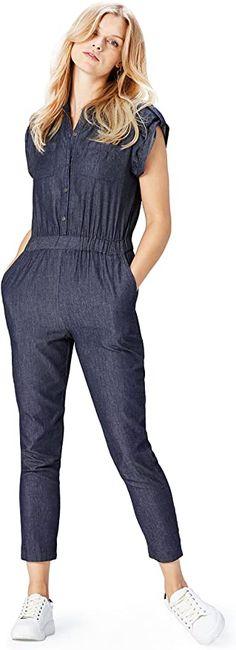 Schlicht und schick  Bekleidung, Damen, Jumpsuits Chambray, Trends, Overall, Amazon, Jumpsuits, Dresses, Fashion, Chic, Clothing