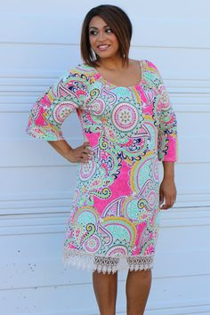 One Faith Boutique - Won't Forget Me Paisley Print Dress With Lace Hem ~ Pink ~ Sizes 12-18, $36.00 (http://www.onefaithboutique.com/best-sellers/wont-forget-me-paisley-print-dress-with-lace-hem-pink-sizes-12-18/)
