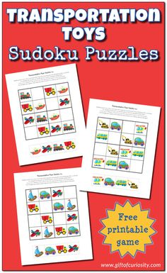 Free printable Transportation Toys Sudoku puzzles for kids who love transportation toys and vehicles of all kinds. Perfect for preschoolers and early elementary students. Puzzles For Kids, Worksheets For Kids, Sudoku Puzzles, Educational Baby Toys, Learning Toys, Montessori, Transportation Crafts, Best Baby Toys, Science Activities For Kids
