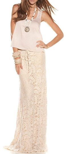 Boho Lace Maxi Skirt - I would love it even more in blue or green. Beige with my already super pale skin is not so good.