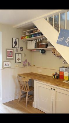 Extend the counter top for your sewing table just without cabinet underneath