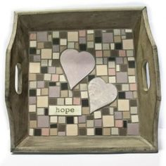 KIT - Vintage Tray Medium Grey - A romantic evening watching the flames in the fireplace or breakfast in bed or tea for 2... this tray is the perfect size to share. Minimal cutting is needed for the heritage porcelain tiles from Winckelmans.This kit includes the tray, porcelain tiles in warm romantic tones, Anne Cardwells handmade hearts to match, the word LOVE in vintage script, glue, grout, photo and instructions. #mosaic