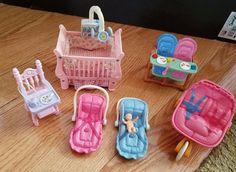 Fisher Price Dollhouse Furniture Nursery Twins Stroller Crib Lights & Sounds  #FisherPrice