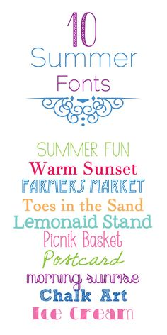 10 fonts that are PERFECT for summer! All are free fonts!