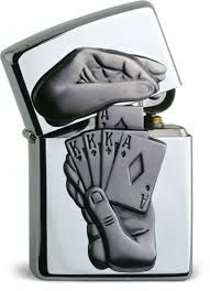 Original Zippo Trick Poker Lighter Very RARE Special Edition Casino Edition Poker, Cool Zippos, Zippo Collection, Cool Lighters, Pipes And Cigars, Light My Fire, Fire Starters, House Of Cards, Polished Chrome