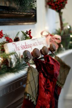 Clever Stocking Hanger Idea Using door Knobs..would have to put a glass one in there . @Ashley Walters Walters Henkle  Do u like this?