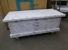 SOLD - Trunk with hinged lid chippy white paint - would make a lovely coffee table!  ***** In Booth D12 at Main Street Antique Mall 7260 E Main St (east of Power RD on MAIN STREET) Mesa Az 85207 **** Open 7 days a week 10:00AM-5:30PM **** Call for more information 480 924 1122 **** We Accept cash, debit, VISA, Mastercard, Discover or American Express