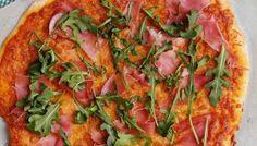 Pizza de jamón y rúcula {y otra masa de pizza}